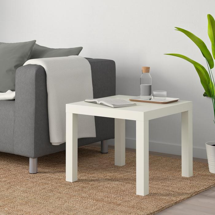 Придиванный столик ЛАКК 55х55 (белый)